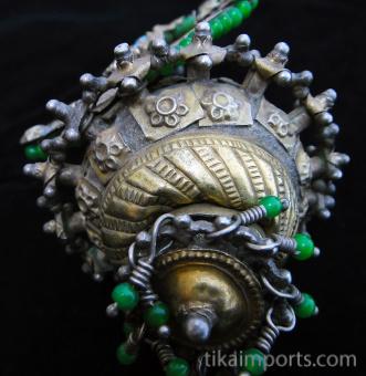 detail of underside of 19th Century Turkoman Large Ear Ornament