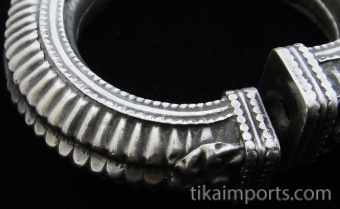 Closeup detail of Single Old Afghani Silver Hollow-form Bangle