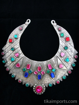top view of Antique Silver Afghani Chestplate