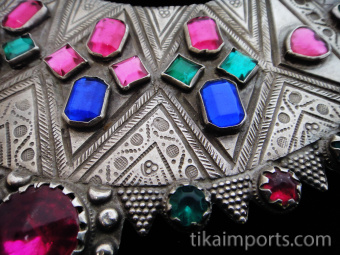 detail of Antique Silver Afghani Chestplate