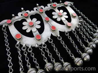 closeup view of Antique Afghani Silver Ornament