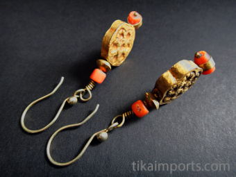 Antique Pakistani gold bead earrings with natural coral accents