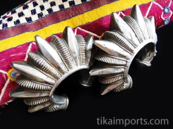 Antique Silver Gokhru Cuffs (pair)