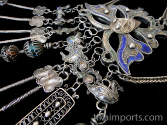closeup detail of Chinese Hilltribe Wedding Necklace