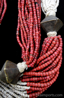 closeup detail of Antique beaded multi-strand necklace from Orrissa