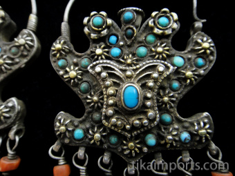 detail of antique silver filigree earrings from Bukhara in Central Asia