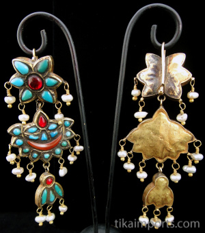 Antique Afghani Gilt Silver Earrings, showing both front and back