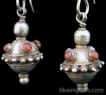 closeup of Antique Afghani Earrings