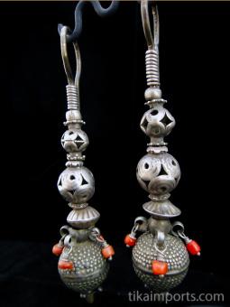 Antique Afghani silver bead earrings.
