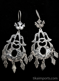 Antique Afghani silver Niello earrings.