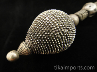 closeup of Antique Afghani Silver Earrings