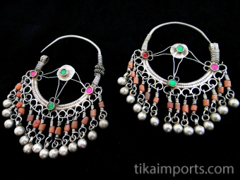Antique Afghani Silver Earrings with glass and Coral.