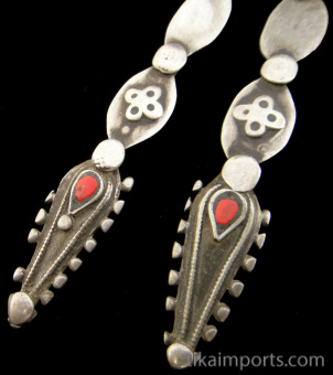 closeup of Afghani Silver Hoops with solid silver spike.