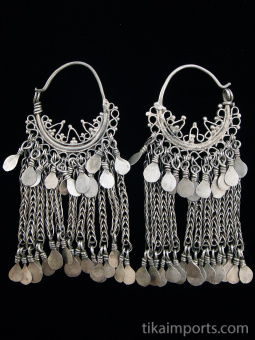 Antique Afghani Silver Filigree Hoops with silver chain