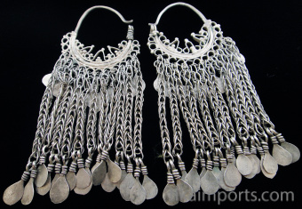 Antique Afghani Silver Filigree Hoops with silver chain showing back of earrings