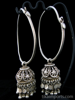 Antique Afghani Silver Hoops with removable Silver Filigree