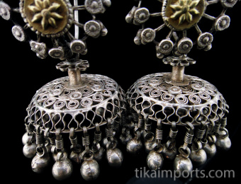 Antique Afghani Silver hoops with silver filigree bell-shaped ornament