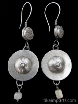 Antique Afghani silver stamped hollow-form linked to flat, round, saucer-like charm