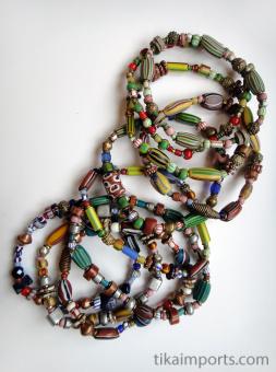 African Trade Bead bracelets, assortment