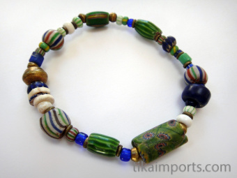 Bracelet of assorted small Venetian Glass Beads from the 1800's and metal accent beads ~ an introduction to the fascinating world of African Trade Beads!