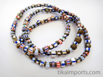 set of three African trade bead stretch bracelets strung with assorted small Venetian Glass Beads from the 1800's and metal accent beads
