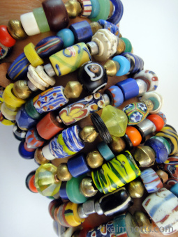 African Trade Bead bracelets, assorted