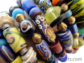 Closeup of African Trade Bead bracelets