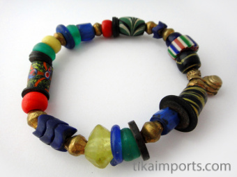 Bracelet of assorted large Venetian Glass Beads from the 1800's and metal accent beads ~ an introduction to the fascinating world of African Trade Beads!