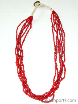 view of full small red white-heart Venetian glass bead necklace from the 1900's