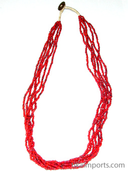 view of full necklace of small red white-heart Venetian glass bead necklace from the 1900's