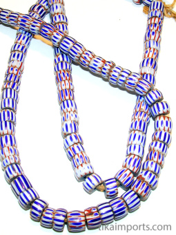 closeup of Awale Chevron glass bead strand, made in Venice Italy and traded to Africa in the early 1900's.