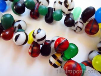 closeup of Mali Wedding Bead strand, antique African Trade Beads