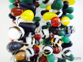 closeup Mali Wedding Bead strand, antique African Trade Beads
