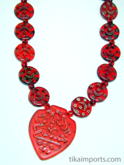 closeup of Red Islamic Glass Necklace