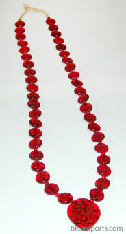 view of full strand of Red Islamic Glass Necklace