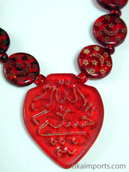 closeup detail, Red Islamic Glass Necklace