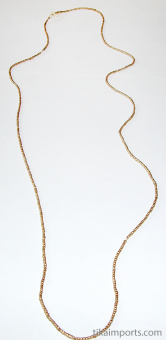 view of full strand, Contemporary Traditional tiny African golden brass-Thread beads.