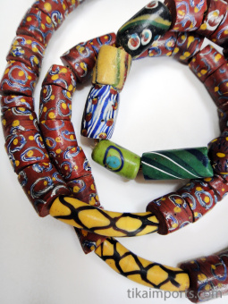 One of a kind African Trade Bead strand- glass beads made in Venice, Italy then traded in to Africa and around the world during the 1900's and earlier