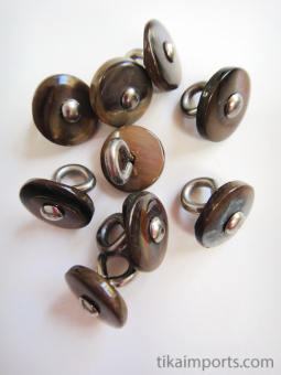 Khaki Victorian shell boot-buttons, made in Muscatine, Iowa