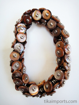 Vintage Chestnut shell boot-buttons from the Victorian era, strung on stretch-magic elastic.