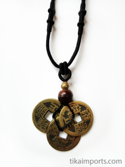 Adjustable cord necklace with pendant made from three brass Chinese coin replicas, horn, and brass accent beads.