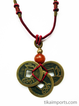 Red adjustable cord necklace with pendant made from three brass Chinese coin replicas, horn, and brass accent beads.