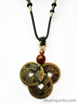 Green adjustable cord necklace with pendant made from three brass Chinese coin replicas, horn, and brass accent beads.
