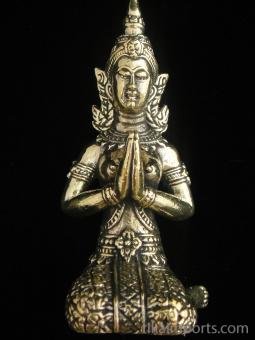 Thai Fairy Temple Guardian brass deity statue, shown kneeling in Anjuli prayer Mudra