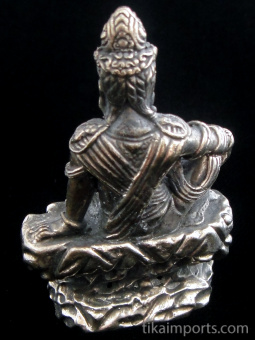 back of Seated Quan Yin brass deity statue, the goddess of compassion