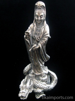 Quan Yin on Dragon brass deity statue, the goddess of compassion