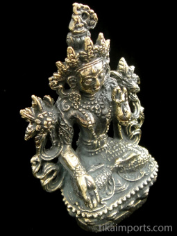 White Tara brass deity statue, representing qualities of compassion, health and healing