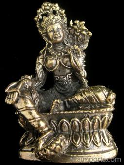 Green Tara brass deity statue, the Mother of all Buddhas