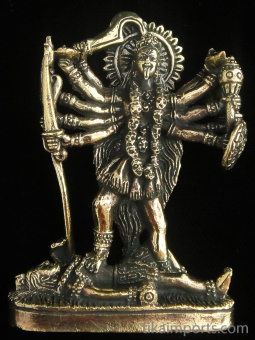 Kali brass deity statue, the goddess of mysteries and destruction