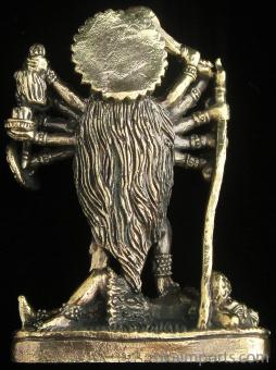 back of Kali brass deity statue, the goddess of mysteries and destruction